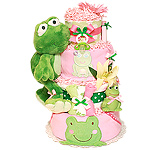 Bright Green Frog Diaper Cake