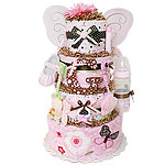Chocolate Pink Butterfly Diaper Cake