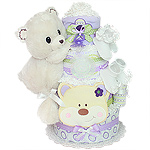 White Forest Bear Diaper Cake