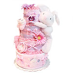 Cute White Bunny Diaper Cake