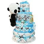 Cute Blue Panda Bear Diaper Cake