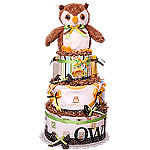 Forest Night Owl Diaper Cake