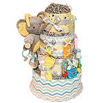 Chevron Musical Elephant Diaper Cake