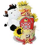 Farm Cow Red Barn Diaper Cake