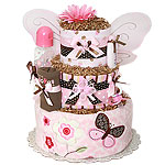 Custom Pink and Brown Butterfly Diaper Cake