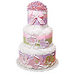 Flowers and Butterfly Decoration Diaper Cake
