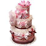 Flower Power Girl Diaper Cake