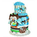 Owl and Hedgehog Forest Friends Diaper Cake