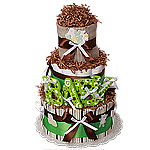 "Chocolate Green ""BABY"" Diaper Cake"
