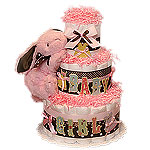 Modern Pink and Brown Bunny Diaper Cake