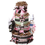 """Simple """"G"""" Four Tiers Diaper Cake"""