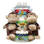 Twin Boys Monkeys Diaper Cake