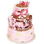 Brown and Pink Butterfly Diaper Cake