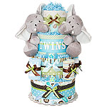Twin Boys Jungle Elephants Diaper Cake