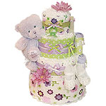 My First Lavender Bear Diaper Cake