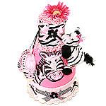 Flower Power Zebra Diaper Cake
