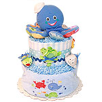 Blue Octopus Diaper Cake