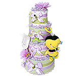 Green and Lavender Bee Diaper Cake
