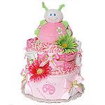 Flower LadyBug Diaper Cake
