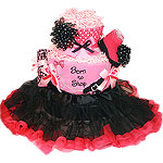 Pink and Black Born To Shop Diaper Cake