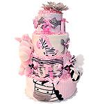Cutie Pink Zebra Diaper Cake