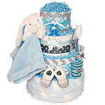 Grey and Blue Bunny Diaper Cake