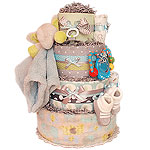 Grey and Blue Elephant Diaper Cake