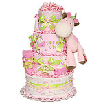 Bright Green and Pink Giraffe Diaper Cake