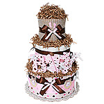 Chocolate Pink BABY Diaper Cake