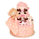 Peach Bear Diaper Cake