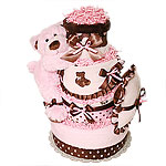 Big Pink and Brown Sleeping Bear Diaper Cake