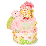 Green and Pink Turtle Diaper Cake