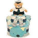 Whale Bear Ocean Diaper Cake