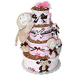 Girl Monkey Diaper Cake