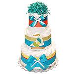 Decoration Teal Sail Boat Nautical Diaper Cake