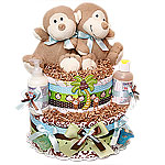 Twins Boys Organic Monkeys Diaper Cake