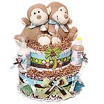 Twins Boys Organic Monkeys Diaper Cake