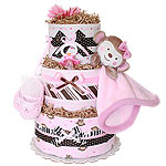 Girl Monkey Blanket Diaper Cake