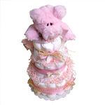 Cute Pink Pig Diaper Cake