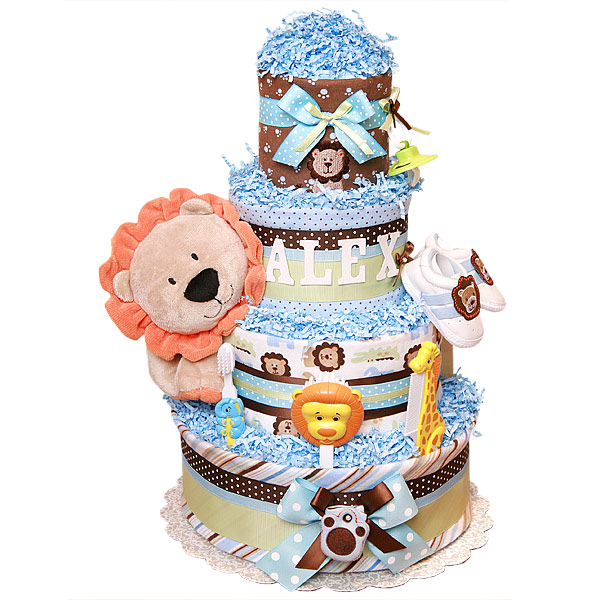 Alex King of the Jungle Diaper Cake