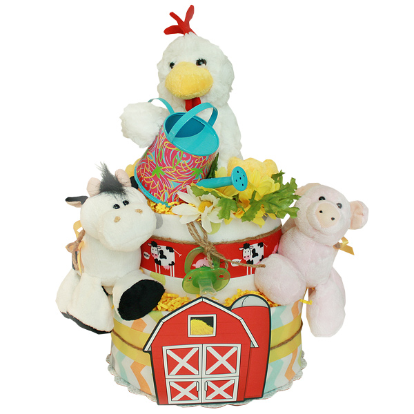 Red Barn Farm Diaper Cake