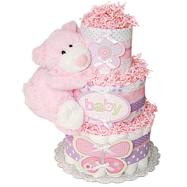 Flower Butterfly Bear Diaper Cake