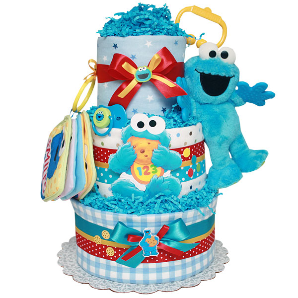 Baby Cookie Monster Diaper Cake