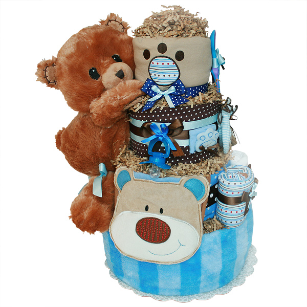 Blue Forest Bear Diaper Cake