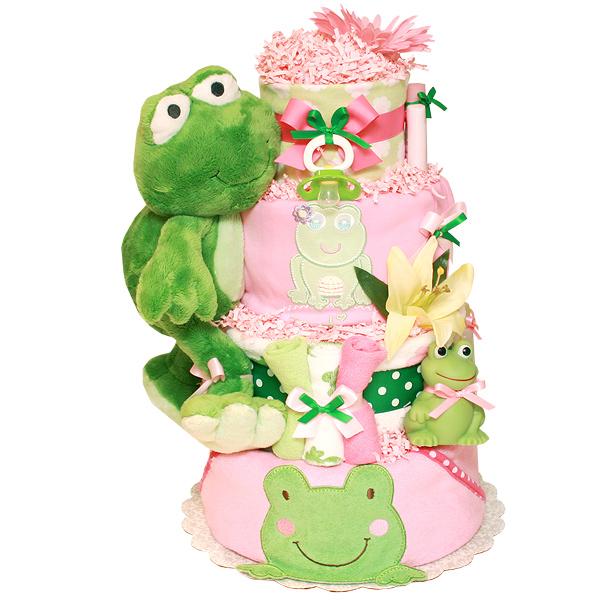 Bright Green Frog Diaper Cake