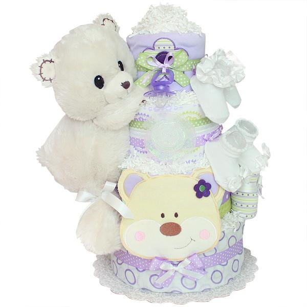 White Forest Bear Diaper Cake
