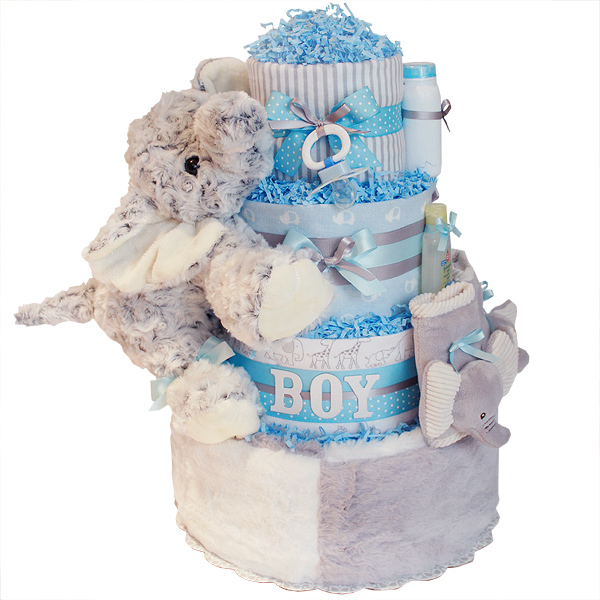 BOY! Blue Elephant Diaper Cake