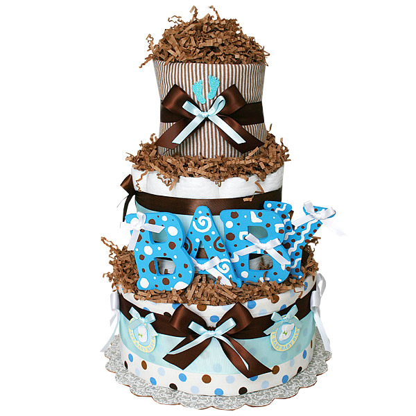 Chocolate Blue Diaper Cake
