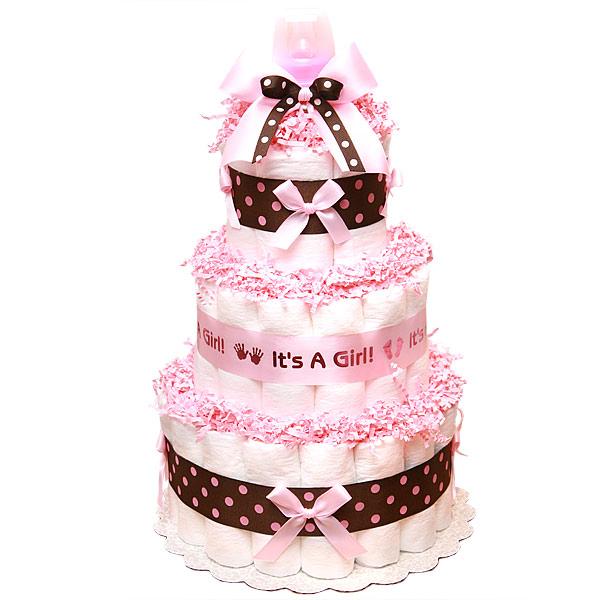 Pink Chocolate Girl Diaper Cake