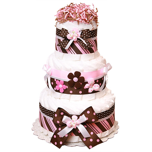 Pink and Brown Decoration Butterfly Diaper Cake